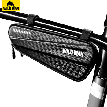 WILD MAN Bicycle Bag Front Tube Frame Bag Hard Shell Rainproof Bike Bag Double Zipper Triangle Tools Pouch Cycling Accessories