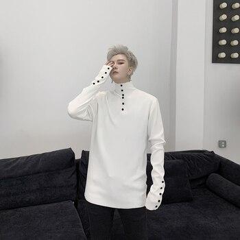 Autumn Korean fashion slim turtleneck thin sweater personality button young men's casual sweater