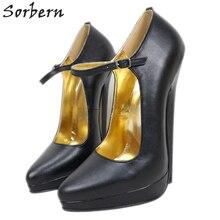 Sorbern seksi sivri burun pompa ayakkabı kadın ayak bileği kayışı Extreme yüksek topuklu Stilettos platformu akşam ayakkabı kadın özel 14Cm 20Cm