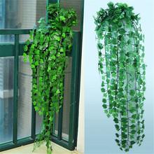 230cm zielona jedwabna sztuczne wiszące girlanda z bluszczu rośliny winorośli liście 1 sztuk diy dla domu dekoracja łazienki dekoracje na przyjęcie ogrodowe tanie tanio Z tworzywa sztucznego VINE