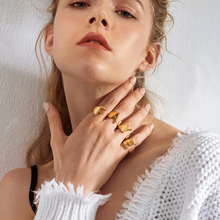 CUTEECO Hollow A-Z Letter Adjustable Opening Rings For Women European Gold Color Ring Female Party Personalized Fashion Jewelry vintage adjustable a z letter metal ring female jewelry gothic charm gold ring fashion opening wedding band rings for women girl