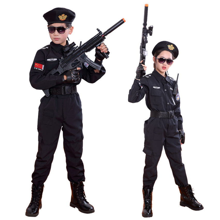 Boys Special Police Clothing Policemen Uniform Children's Day Birthday Gift Halloween Cosplay Costume Kids SWAT Army Performance