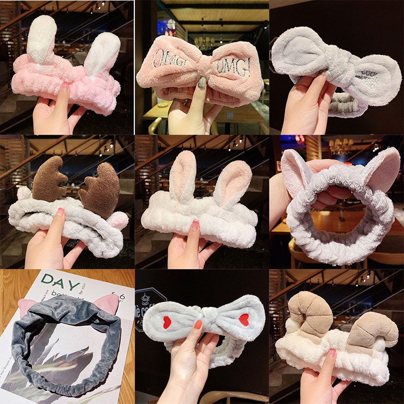 2020 Soft Warm Coral Fleece Bow Animal Ears Headband For Women Girls Wash Face Hairband Turban Headwear Fashion Hair Accessories