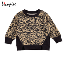 Sweater Baby Pullover Patchwork Leopard Long-Sleeve Infant Casual-Style Ribbed Round-Neck