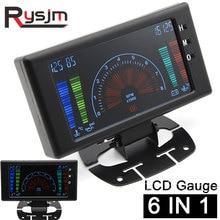 """5 """"LCD 6 in 1 หลายฟังก์ชั่นLCD Autoรถวัดโวลต์นาฬิกาRPMอุณหภูมิน้ำอุณหภูมิน้ำมันน้ำมันความดันรถเครื่องวัดโวลต์มิเตอร์"""