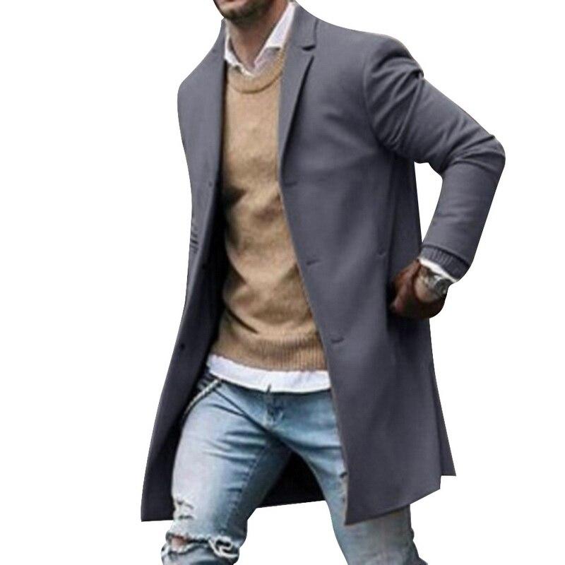 2019 Winter Wool Jacket Men's High-quality Wool Coat Casual Slim Collar Woolen Coat Men's Long Cotton Collar Trench Coat 9