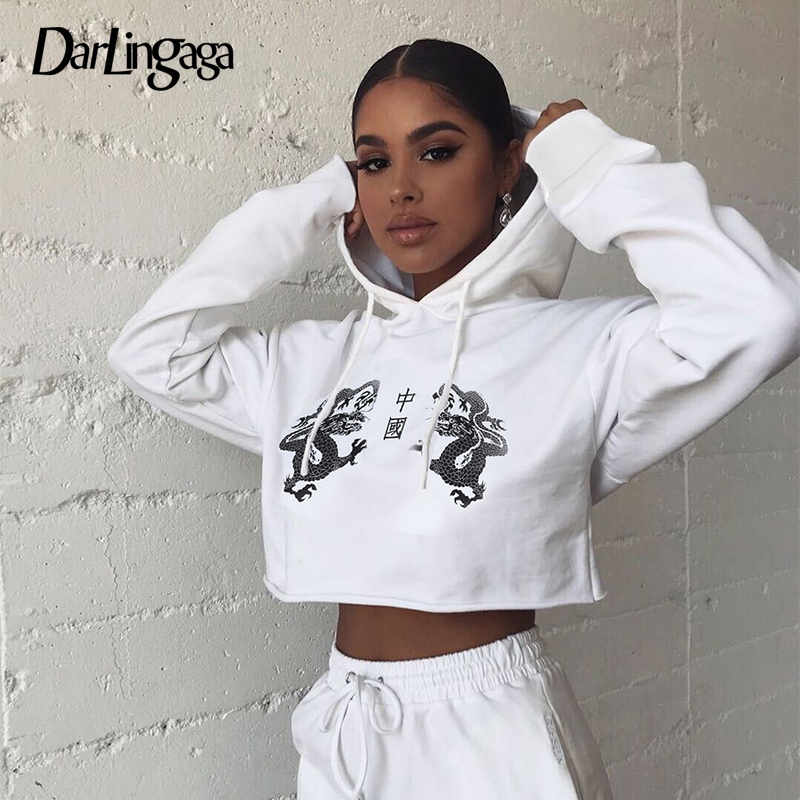 Darlingaga Chinese Style Dragon Print Cropped Hoodie Sweatshirt Streetwear Pullover Loose Autumn Hoodies Women Tops 2019 Moletom