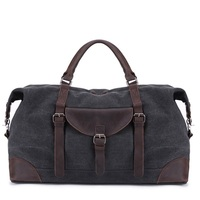 Casual Canvas Travel Bag Large Capacity Men Hand Luggage Travel Duffle Bags Leather Weekend Bags Male Multifunctional Travel Bag