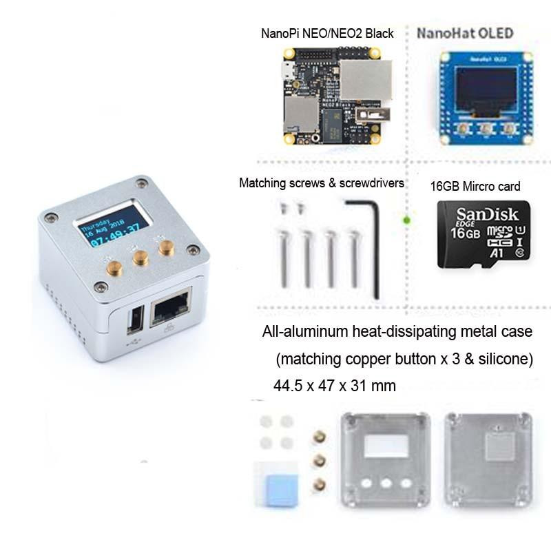 FriendlyARM NanoPi NEO Metal Complete Kit Aluminum Housing Oled Programmable In Python