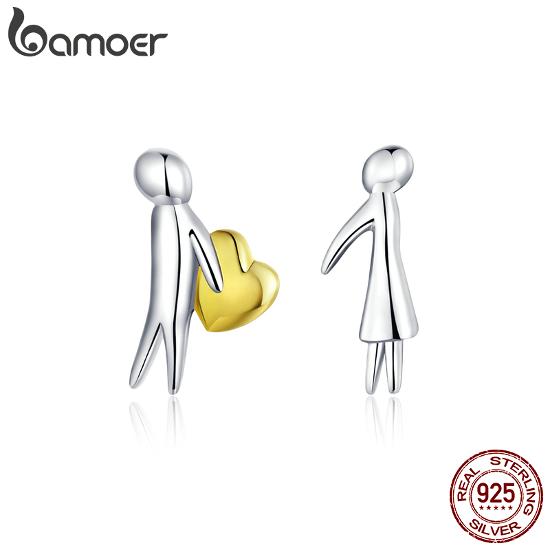 Bamoer Valentine's Day Series  925 Stelring Silver Accepet My Heart Lover Couple Stud Ear Pin 925 Sterling Silver Jewelry SCE851