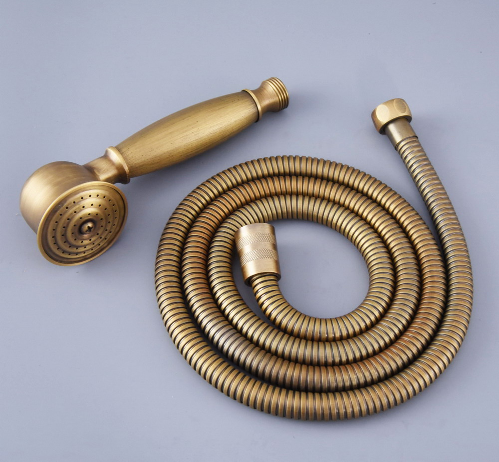 Antique Brass Vintage Retro Bathroom Telephone Shape Hand Spray Handheld Shower Head 1.5m Hand Held Shower Head Hose Mhh119