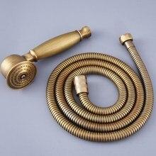 Antiguo latón Vintage Retro Baño forma de teléfono mano espray cabeza de ducha de mano 1,5 m mano de ducha cabeza manguera mhh119