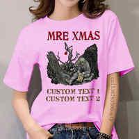 Mre-Camiseta de algodón con estampado para mujer, camiseta de manga corta con cuello redondo personalizada, color blanco