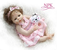 NPK 56CM full body slicone reborn baby doll girldoll reborn Bath toy hand rooted curly hair Anatomically Correct