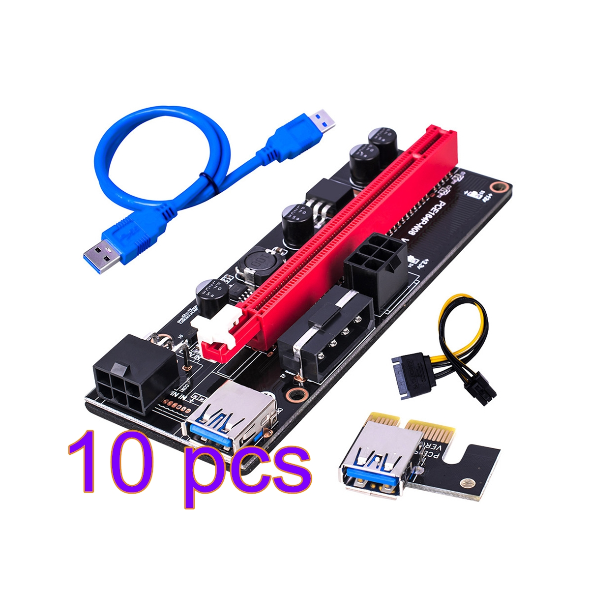 Плата расширения PCI-E 1X до 16X 10 шт., Райзер-карта, адаптер для графического процессора PCI-E USB 3,0 с 6-контактным интерфейсом, синий