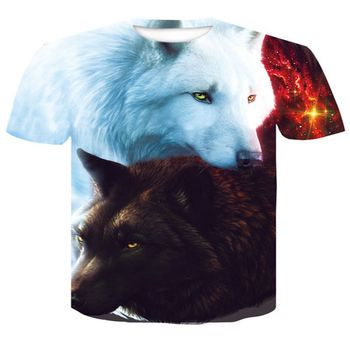 Lovers Wolf Printed T shirts Men 3d T-shirts Drop Ship Top Tee Short Sleeve Camiseta Round Neck Tshi