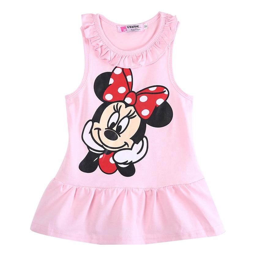 Vestido da menina do bebê 2020 verão 100% algodão topos sem mangas vestido dos desenhos animados moda vestido do bebê dos desenhos animados topos dressd 3
