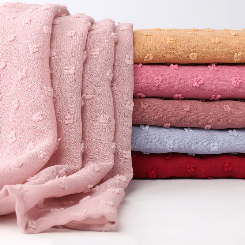2019 Fashion Plain Pom Pom Bubble Chiffon Instant Hijab   Scarf   Lady Breathable Shawls Muslim Headband Maxi Islamic Sjaal 180*70Cm