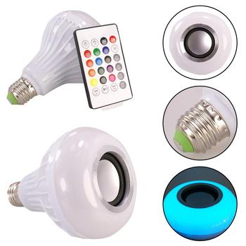 цена на Smart E27 12W Ampoule LED Bulb RGB Light Wireless Bluetooth Audio Speaker Music Playing Dimmable Lamp with 24 Key Remote Control