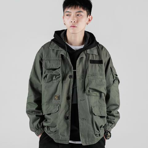 2020 autumn pocket super hot tooling coat fashion casual men's loose retro Japanese jacket M-5XL
