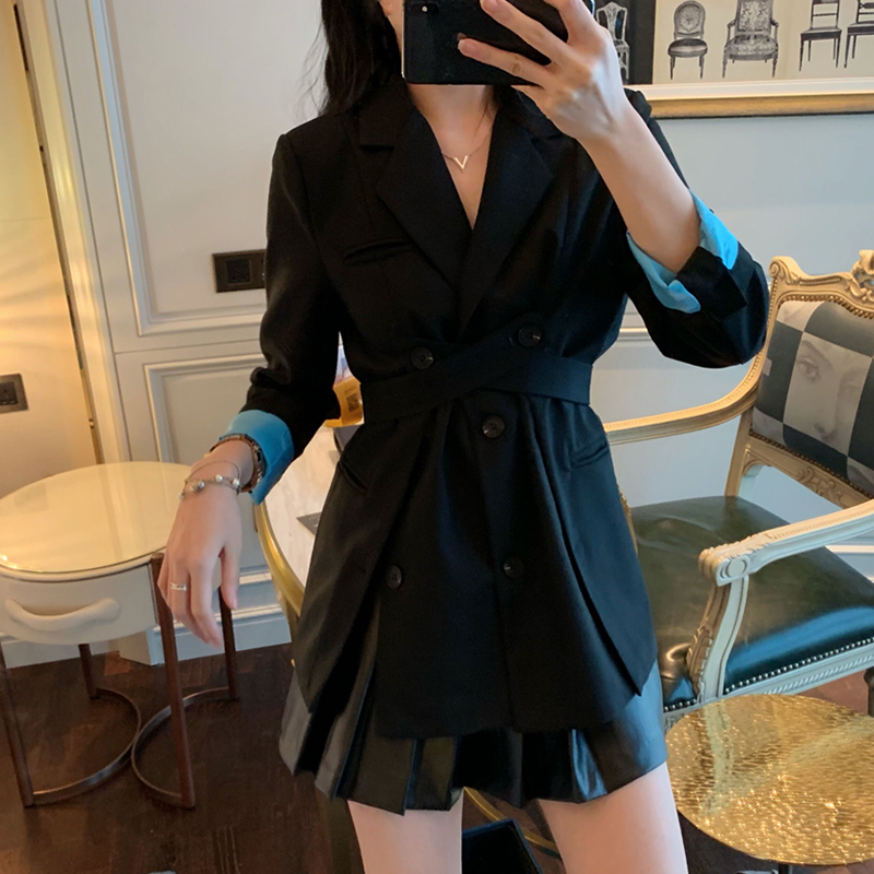 HIGH STREET New Stylish 2019 Designer Blazer Women's Patchwork Long Blazer