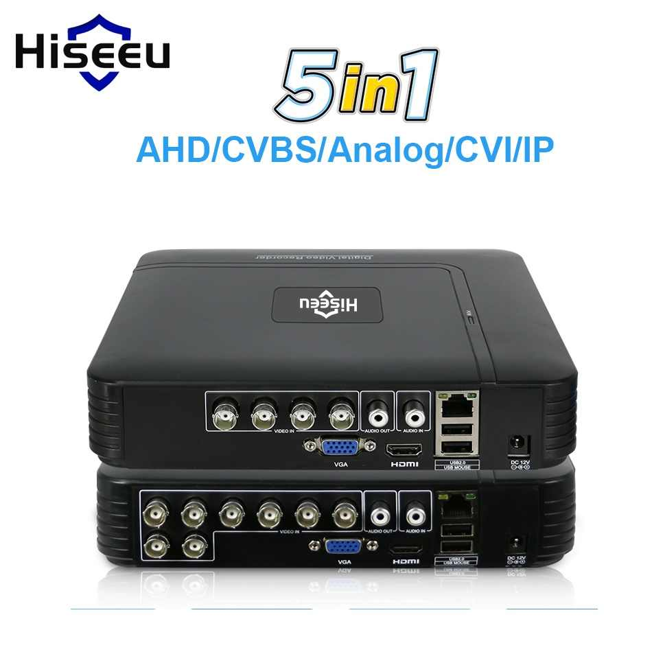 5 In 1 CCTV Mini DVR TVI CVI AHD CVBS Ip Kamera Digital Video Recorder 4CH 8CH AHD DVR NVR sistem CCTV P2P Keamanan Hiseeu