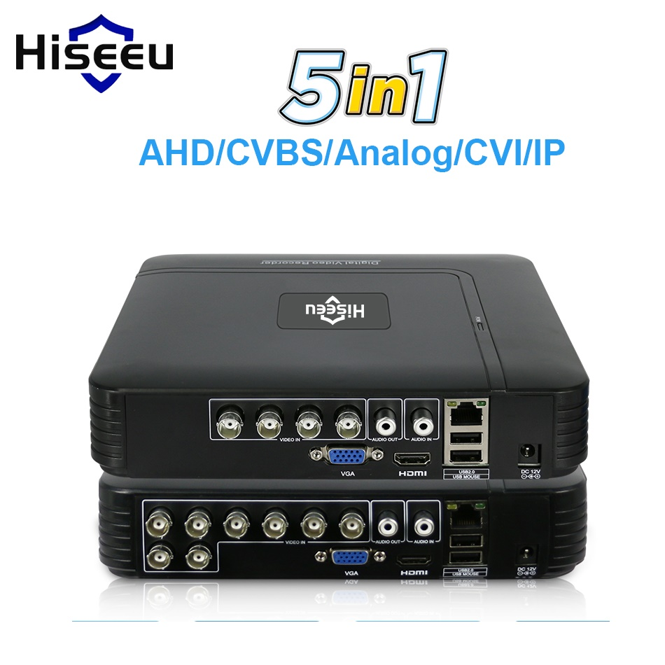 5 mewn 1 CCTV Mini DVR TVI CVI AHD CVBS IP Camera Recordydd Fideo Digidol 4CH 8CH AHD DVR NVR CCTV System P2P Security Hiseeu