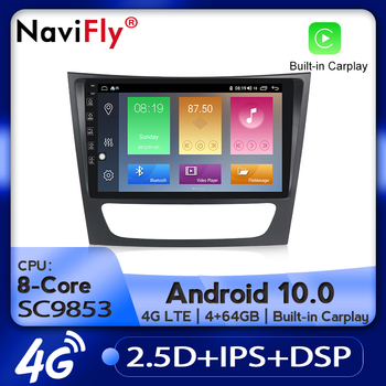 NaviFly Car Radio Multimedia video player GPS navigation Android 10.0 For Benz E-Class W211 E200 E220 E240 E270 E280 2002-2008 image