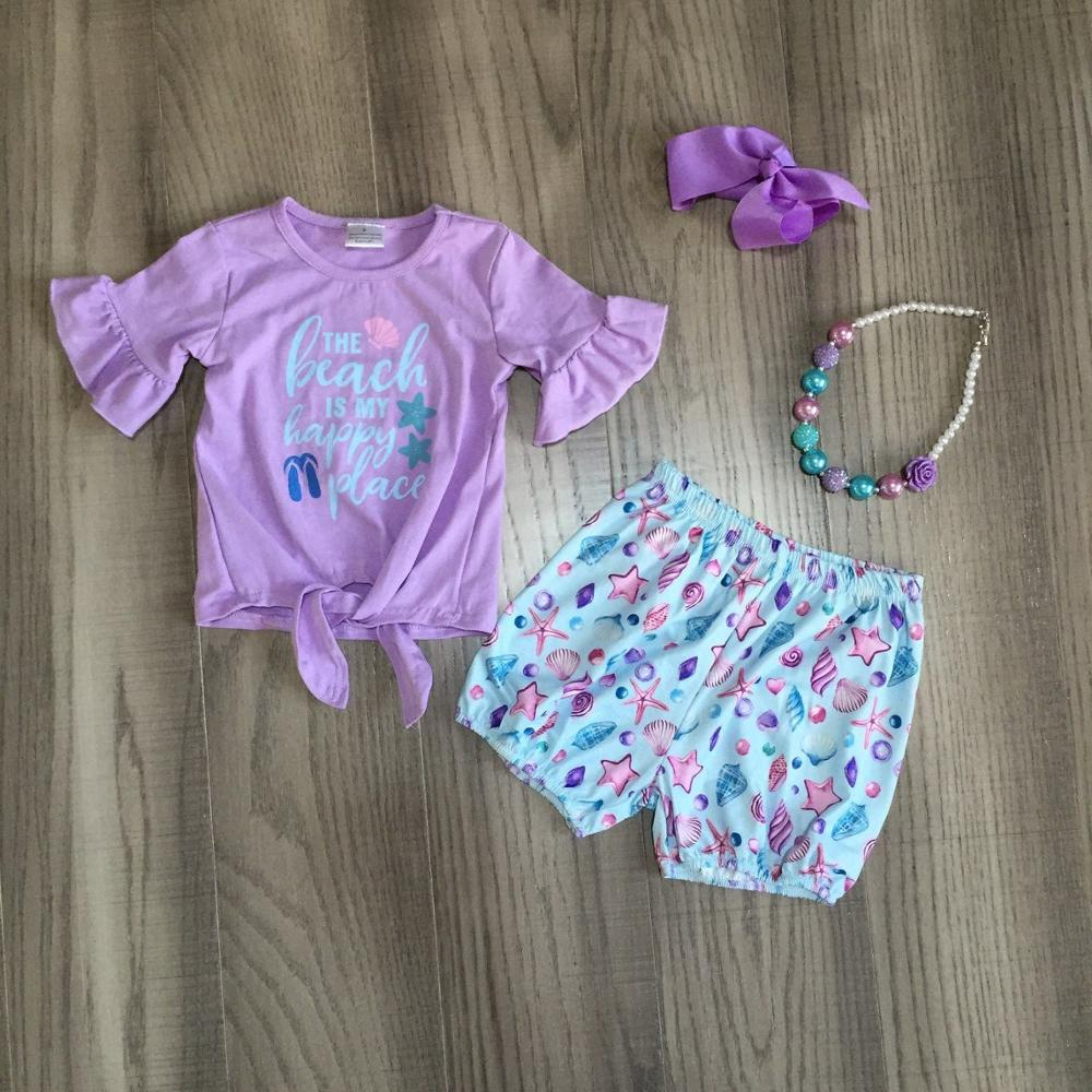 Baby Girls Summer Clothes Girl Lavender Shirt Starfish Starfish Shorts Girls Beach Outfits With Accessories