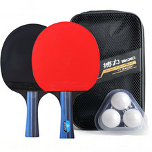 Table Tennis Racket Set Long Short Handle Good Control PingPong Rackets with 2 Paddles Bat + 3 Table Tennis Balls + Carry Case цена