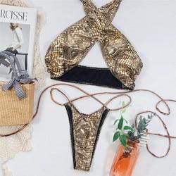 Halter kobiety stroje kąpielowe bikini Set Push Up strój kąpielowy skóra drukowane strój kąpielowy dla dziewczynek Banadores Mujer stringi kąpielowy Femme 4