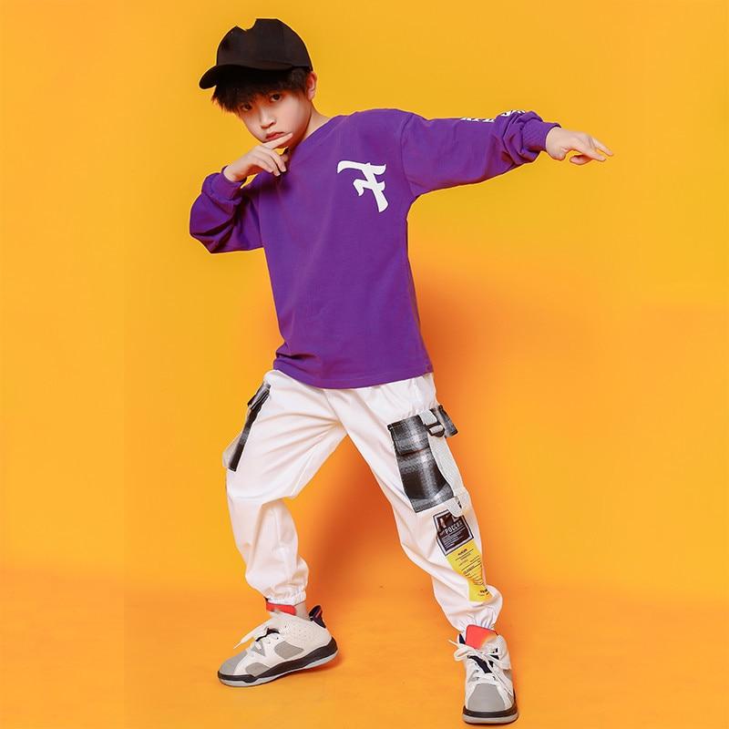 Boys Hip Hop Costumes Purple Shirts Fashion Ballroom Dance Costume Girls Jazz Clothes Set Loose Pants Dancewear for Children (4)