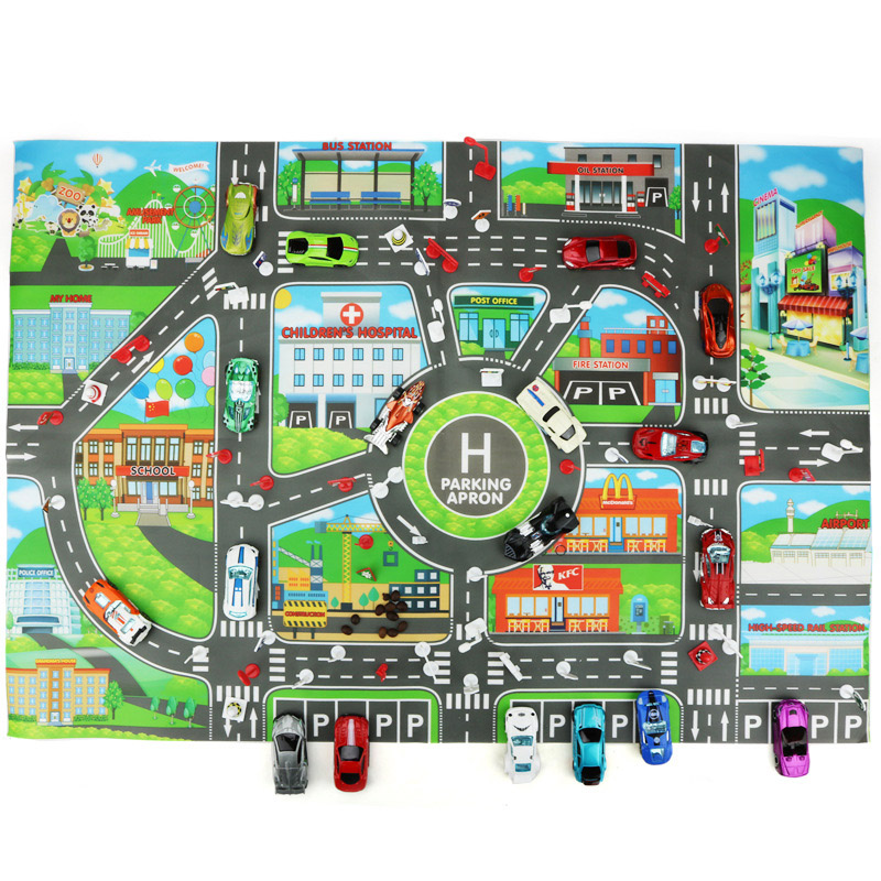130*100cm Kids Play Mat Traffic Highway Routes City Scene Map Model Car Toy Game Pad Interactive Developing Crawling Mat