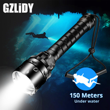 Professional Diving LED Flashlight Portable IPX8 Waterproof Torch T6 L2 Super Bright 18650 Flashlights 200M Underwater Dive Lamp xml t6 l2 powerful battery flashlight diving professional portable dive torch underwater illumination waterproof flashlights