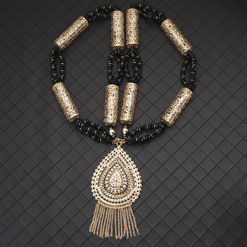 Ethinic Long Chain Necklace for Women Algeria Beads Necklace Pendant for Caftan Dress Luxury Bridal Long Necklace