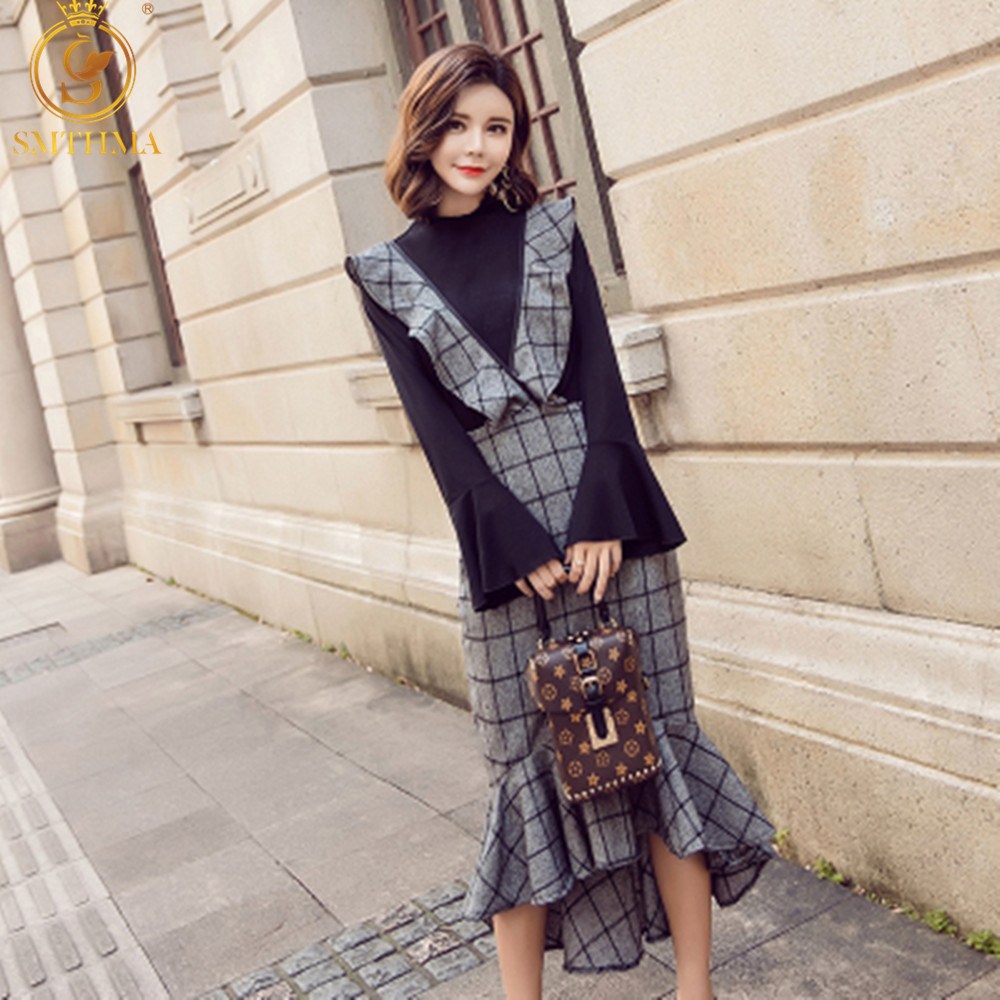 SMTHMA 2019 Spring HIGH QUALITY Newest Fashion Runway Women's Flare Sleeve Tops+2 Piece Set Women Plaid Fish Tail Dress