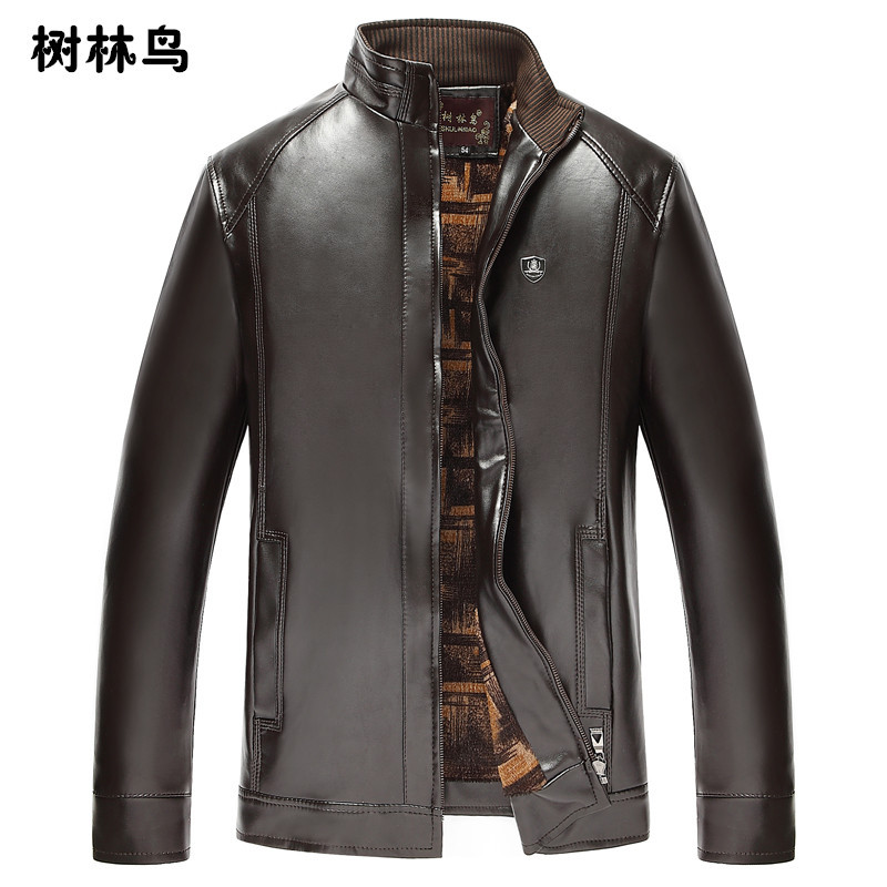 Middle-aged Men Stand Collar Leather Coat Plus Velvet Leather Jacket Coat Daddy Clothes Wandering Peddler