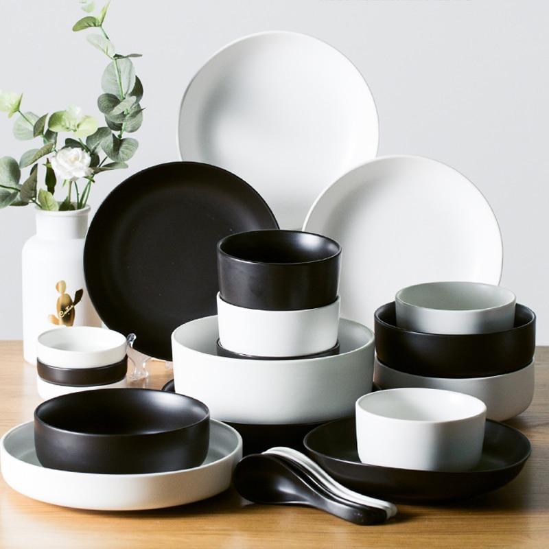 MUZITY assiettes en céramique avec bols   Service de vaisselle en porcelaine, plats ronds et bols à soupe - 3