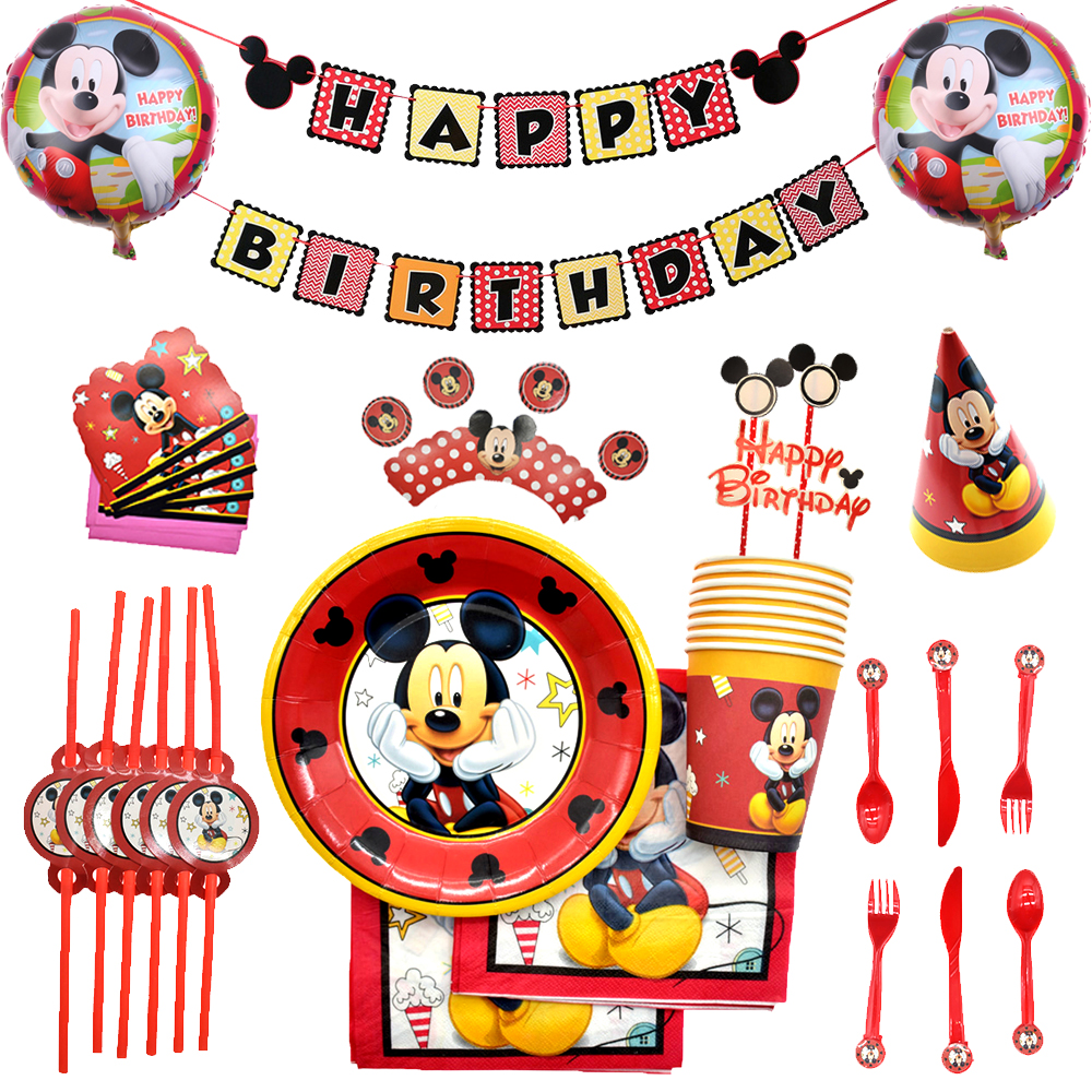 Boys Birthday Party Mickey Disposable Tableware Plate Cup Set Mickey Mouse Hat Ballons Baby Shower Decorations