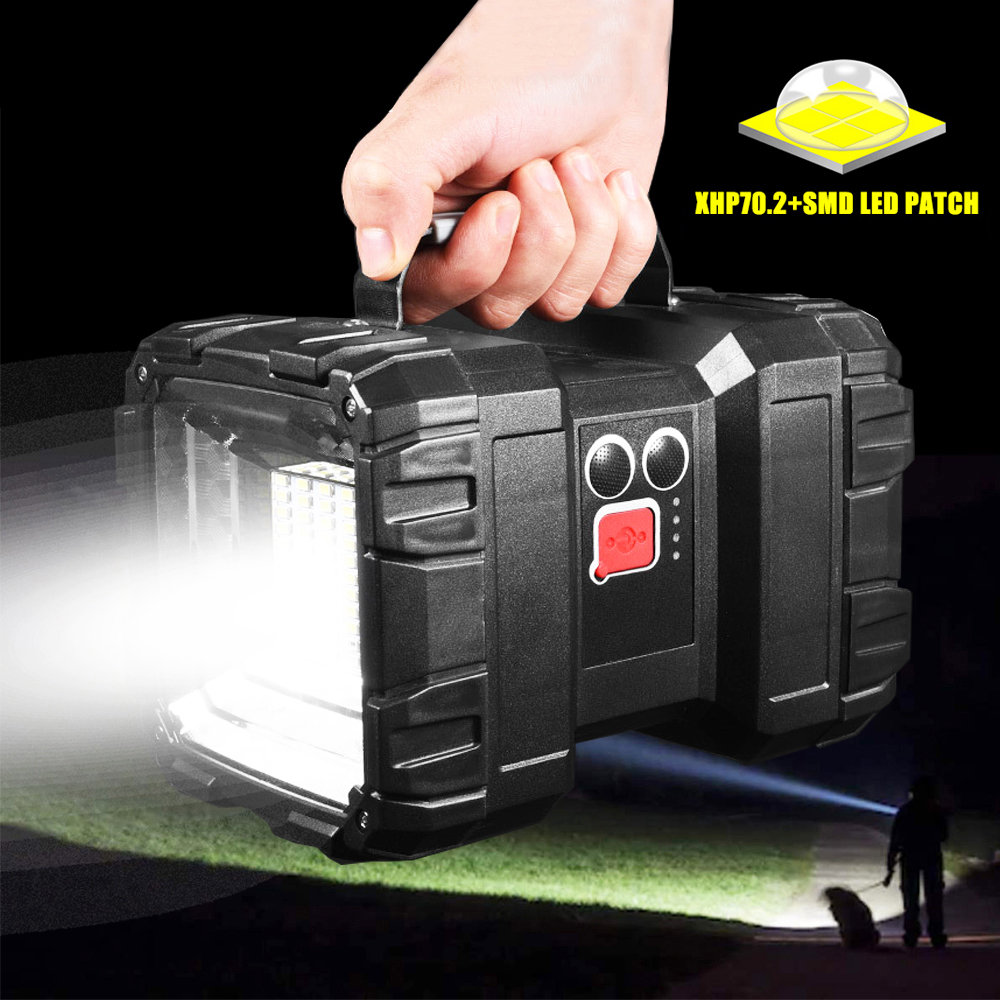 USB Rechargeable Super Bright LED Flashlight XHP70.2 LED Searchlight Double Head Bank Power Function Camping Light Warning Lamp
