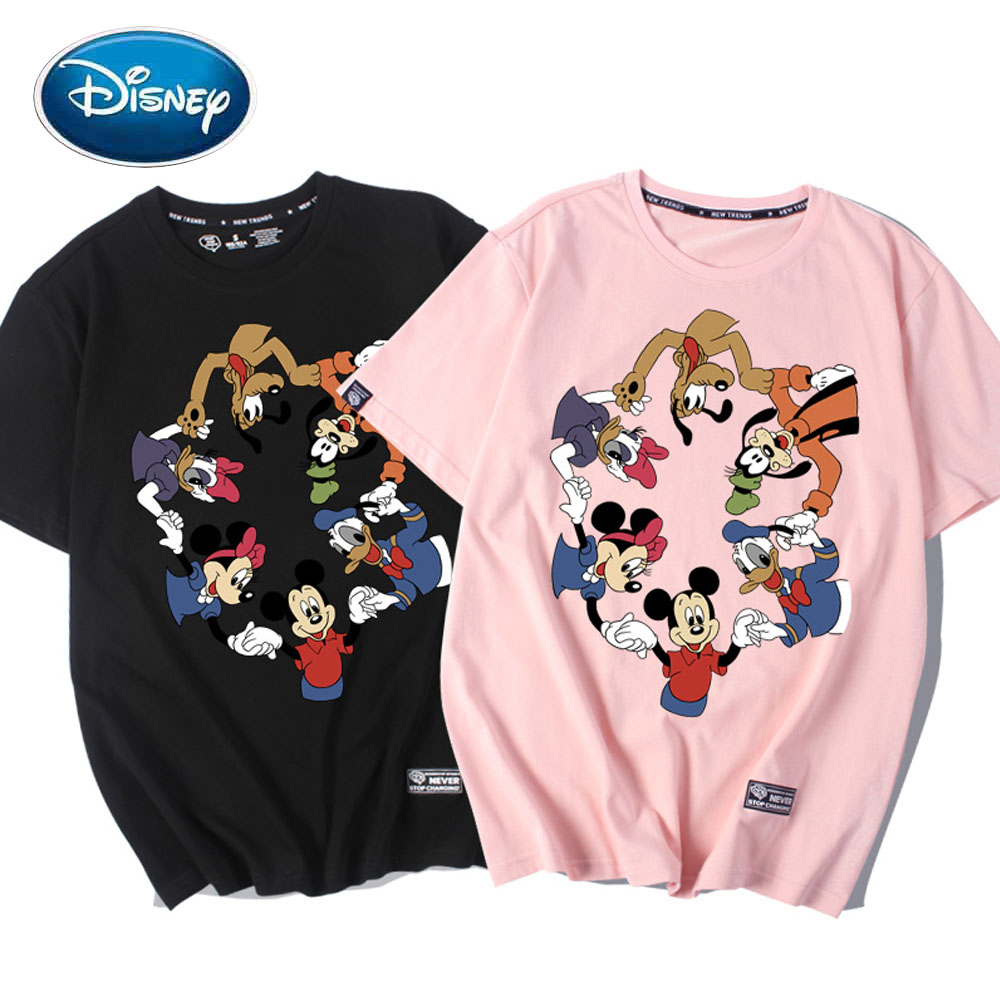 Disney T-Shirt Minnie Mickey Mouse Daisy Donald Duck Dog Cartoon Print Chic Fashion Unisex O-Neck Short Sleeve Tee Top 5 Colors