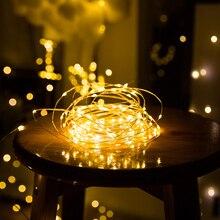 Светодиодная гирлянда с медной проволокой, празднисветильник освещение, сказочное светильник щение для рождественской елки, украшение для...