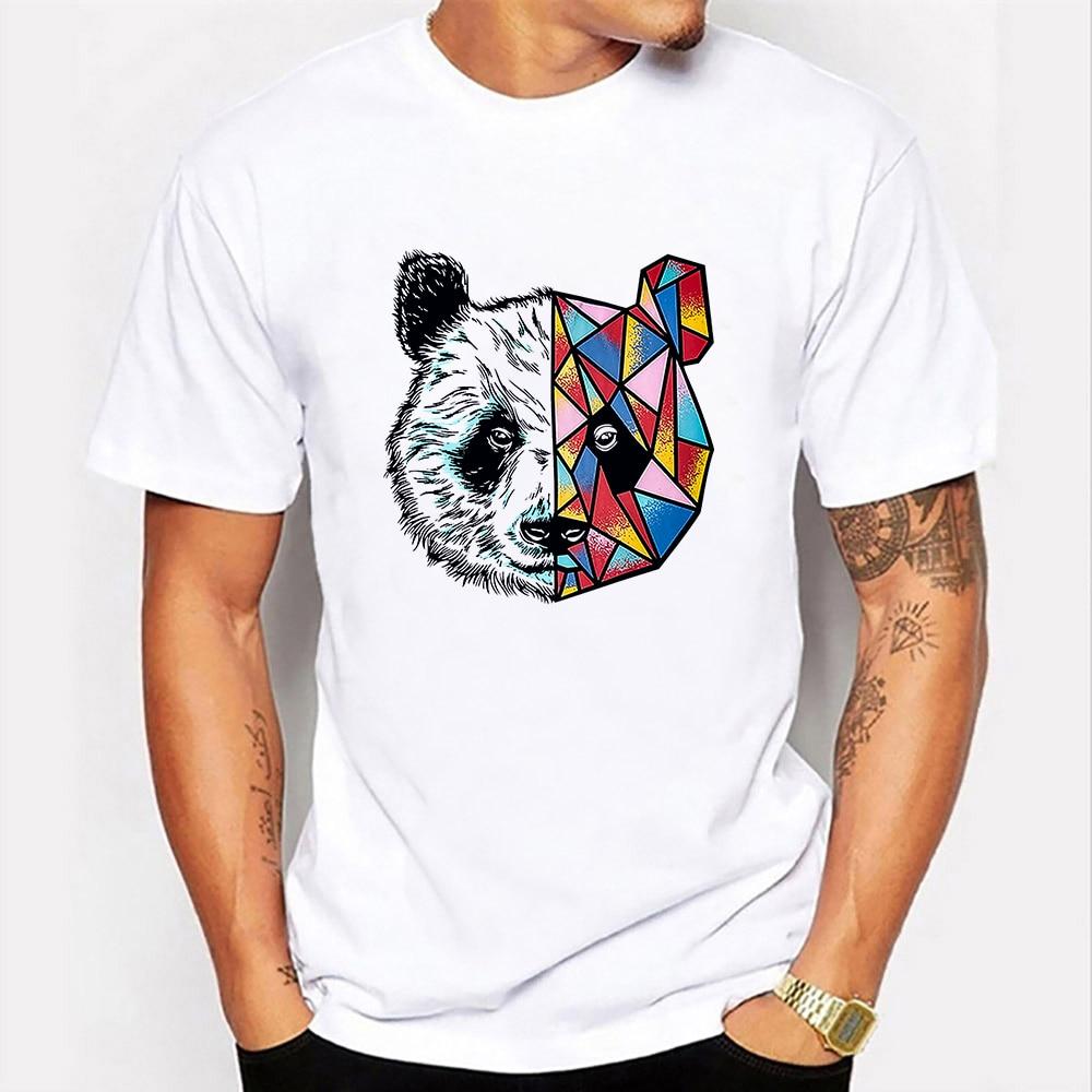 Футболка мужская с круглым вырезом, забавный рисунок панды, короткий рукав, кавайная графическая одежда в стиле Харадзюку, на лето
