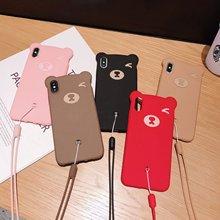 Cartoon Bear Liquid Silicone Phone Case For iPhone 11 Pro X XS XR Max 8 7 6 6S Plus Cute Lanyard Back Cover Fundas Capa