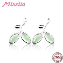 MISSITA 100% 925 Sterling Silver Light Green Leaf Earrings For Women Jewelry Brand Stud Anniversary Gift