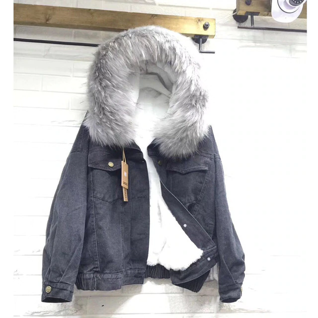 H204e681a5dff4f29a9527ca6b3beb94fY velvet thick denim jacket female winter big fur collar Korean locomotive lamb coat female student short coat