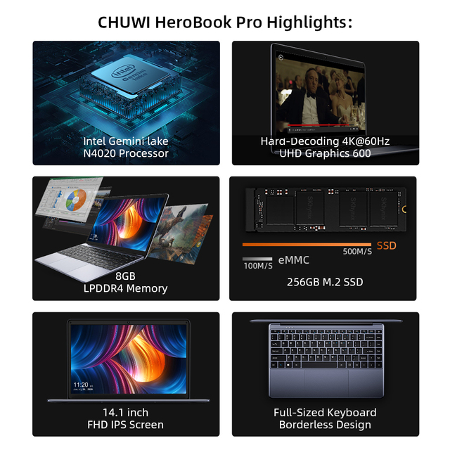 CHUWI HeroBook Pro+, 13.3 Inch, 3200*1800 Resolution, Intel Celeron J3455 Processor, LPDDR4 8GB, 128GB ROM, Windows 10, Laptop 6