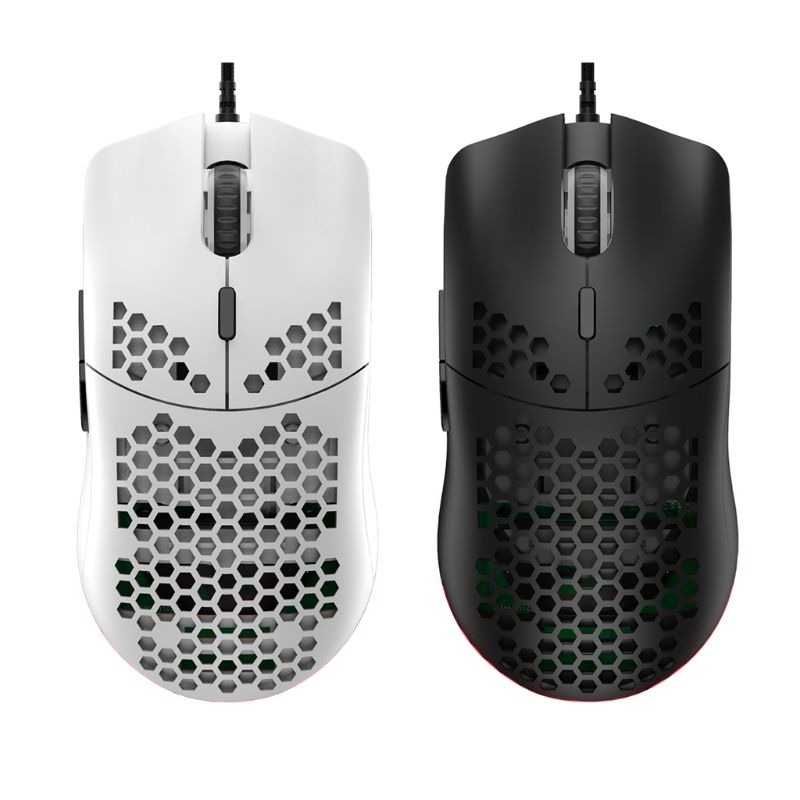 M6 Hollow Honeycomb Pattern Game Mouse Lightweight RGB Wired Gaming Mouse 12000 DPI 7 Keys for Game Lovers image