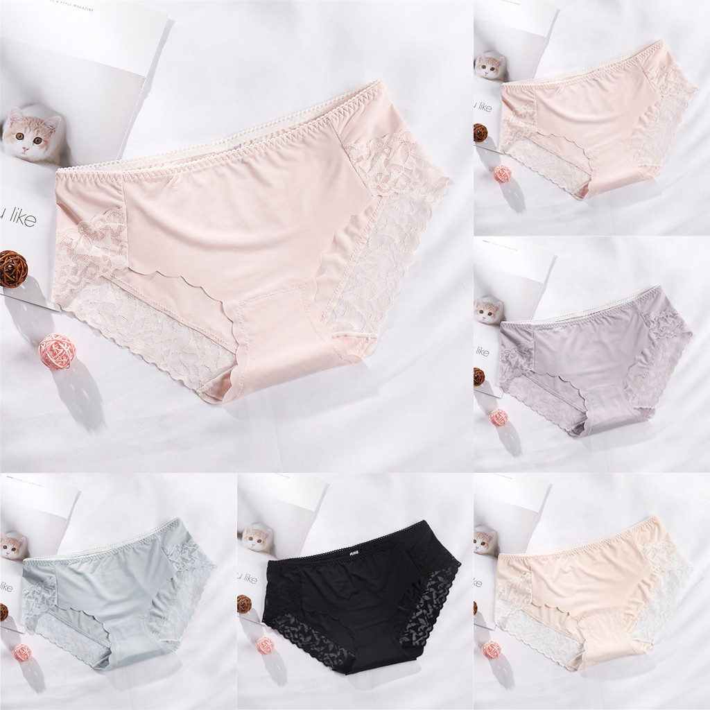 Women's Panties Comfort Underwear Skin-friendly Briefs Women's Underwear Mid Waist Briefs Breathable Soft Ladies Stretch Panties