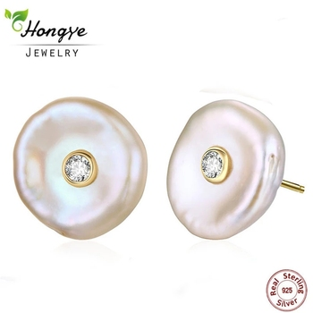 Hongye Fashion 925 Silver Stud Earrings Real Natural Freshwater Pearl Baroque Flat Brincos Women Noble Jewelry 2020 Hot Sale - discount item  64% OFF Fine Jewelry